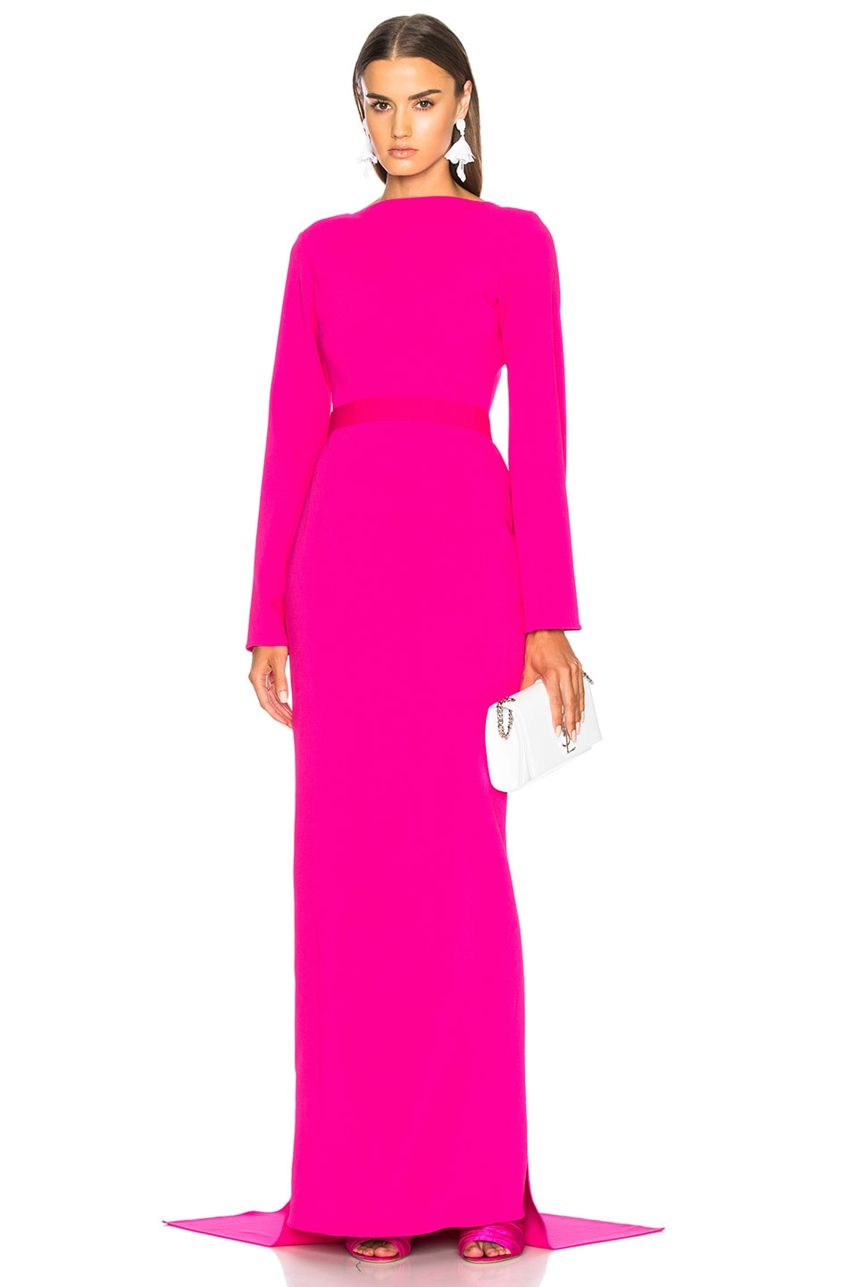 BRANDON MAXWELL WATERFALL BACK GOWN IN PINK