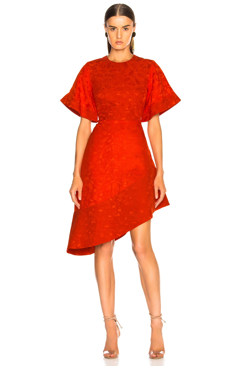Image 1 of Brandon Maxwell Satin Jacquard Flare Sleeve Mini Dress in Poppy