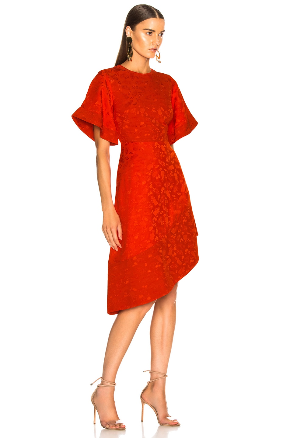 Image 2 of Brandon Maxwell Satin Jacquard Flare Sleeve Mini Dress in Poppy