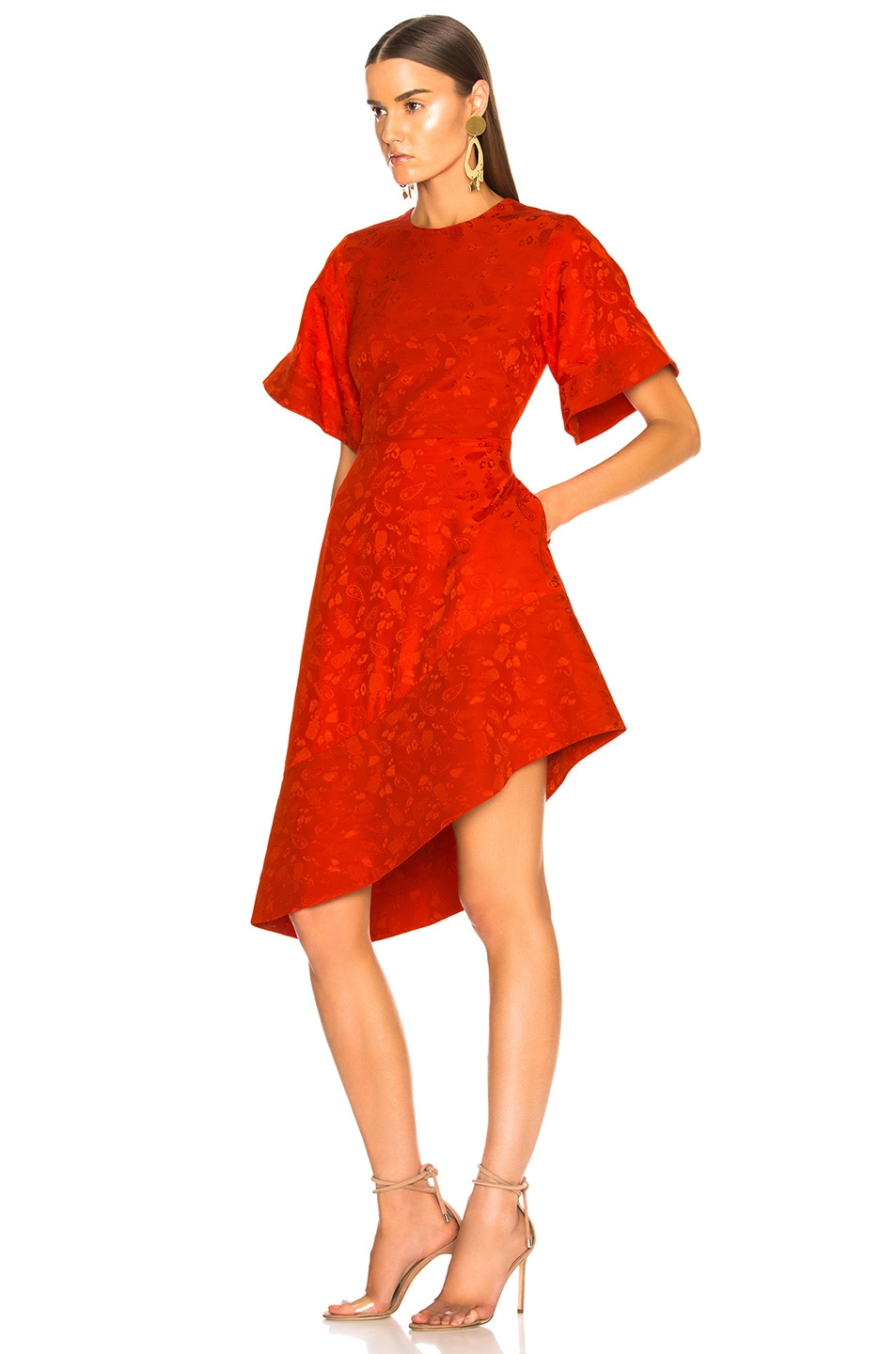 Image 3 of Brandon Maxwell Satin Jacquard Flare Sleeve Mini Dress in Poppy