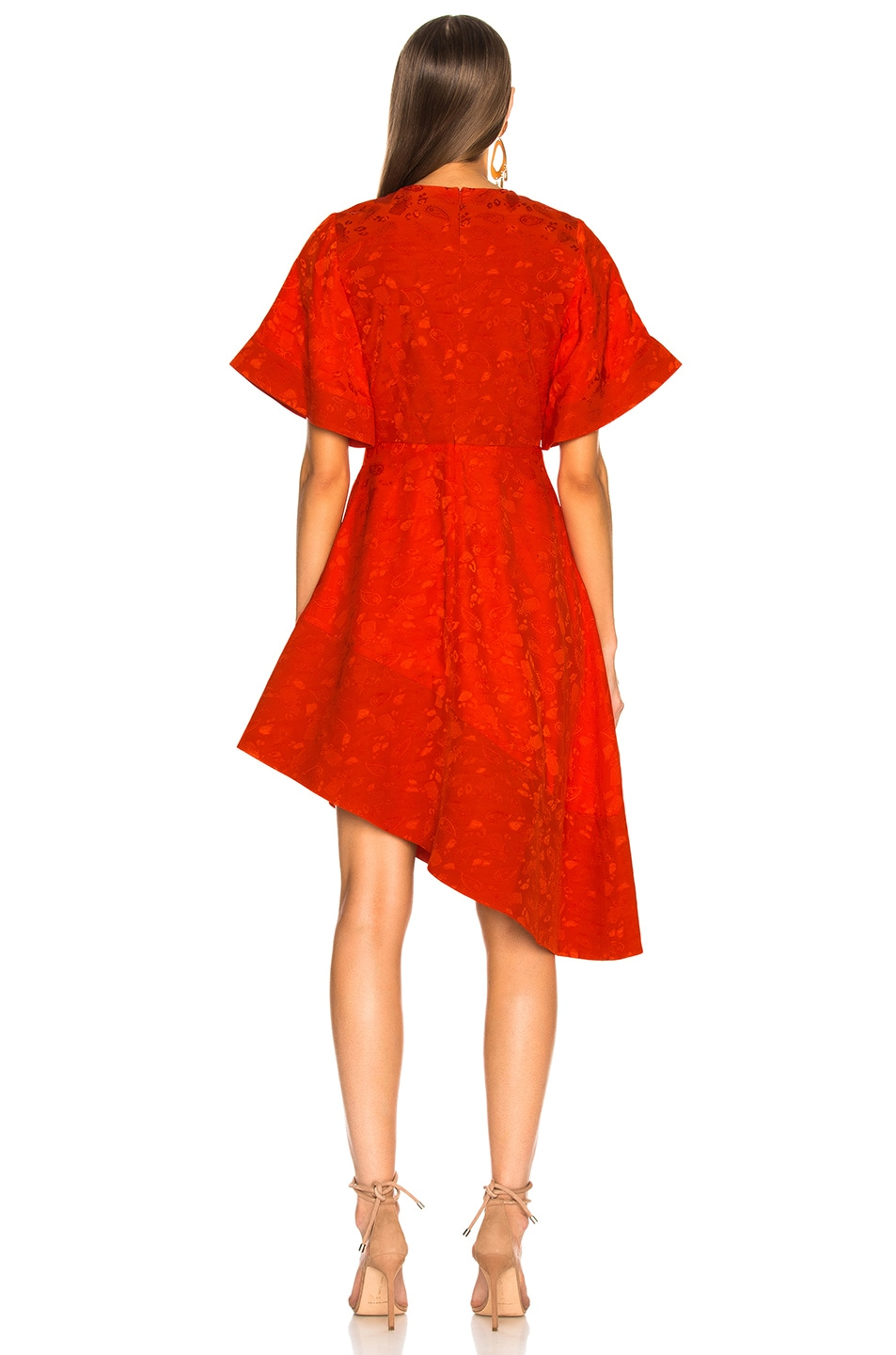 Image 4 of Brandon Maxwell Satin Jacquard Flare Sleeve Mini Dress in Poppy
