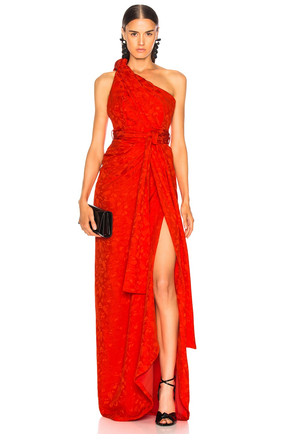 Image 1 of Brandon Maxwell Satin Jacquard One Shoulder Twist Front Gown in Poppy