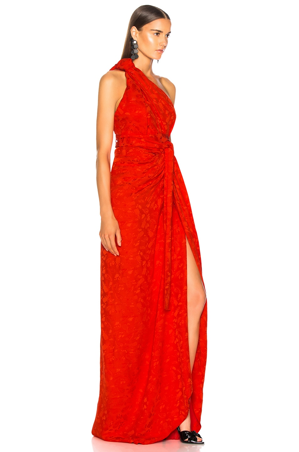 Image 2 of Brandon Maxwell Satin Jacquard One Shoulder Twist Front Gown in Poppy