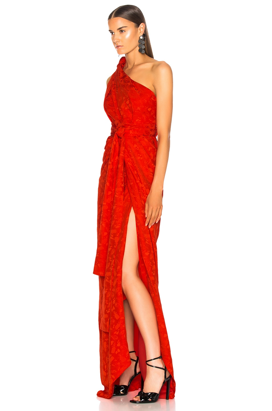 Image 3 of Brandon Maxwell Satin Jacquard One Shoulder Twist Front Gown in Poppy