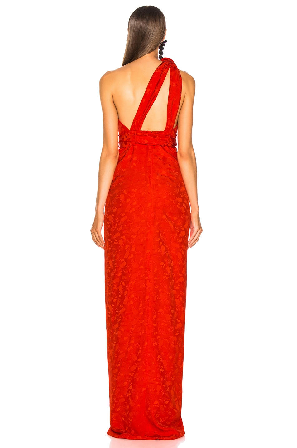 Image 4 of Brandon Maxwell Satin Jacquard One Shoulder Twist Front Gown in Poppy