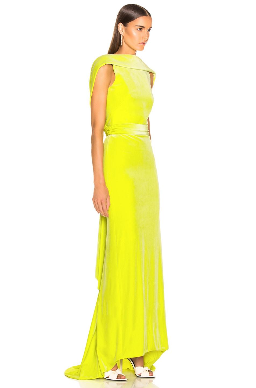 Image 2 of Brandon Maxwell Velvet Drape Back Gown in Lime