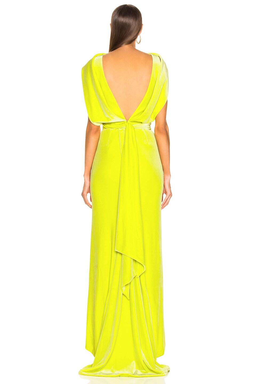 Image 3 of Brandon Maxwell Velvet Drape Back Gown in Lime