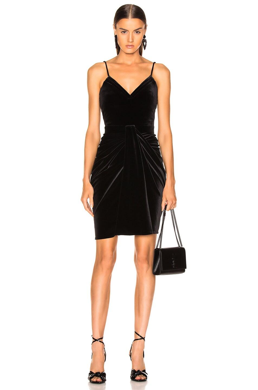 Image 1 of Brandon Maxwell Velvet Mirror Pleat Sweetheart Mini Dress in Black
