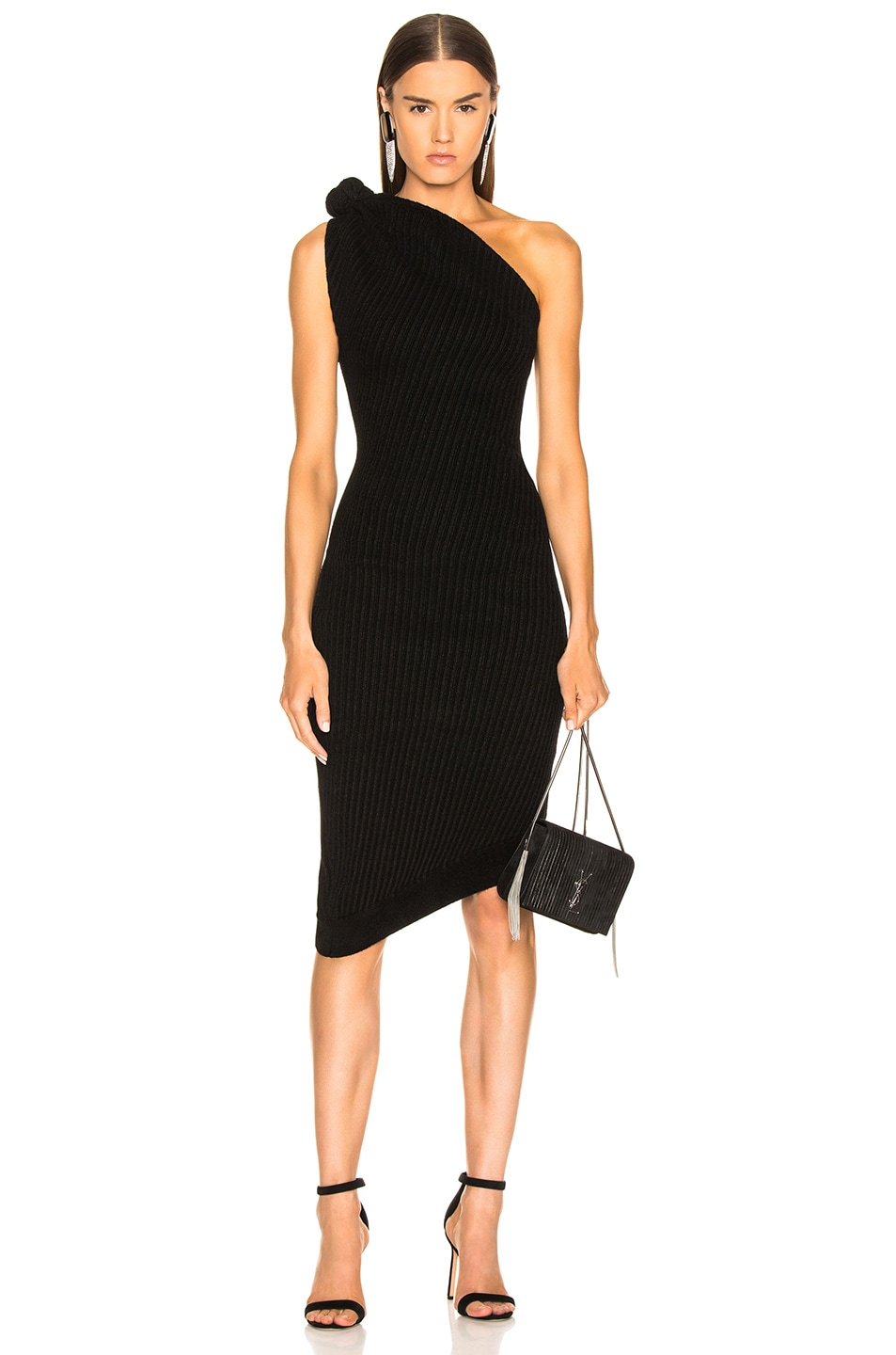 Image 1 of Brandon Maxwell Rib Knit Knot Shoulder Mini Dress in Black