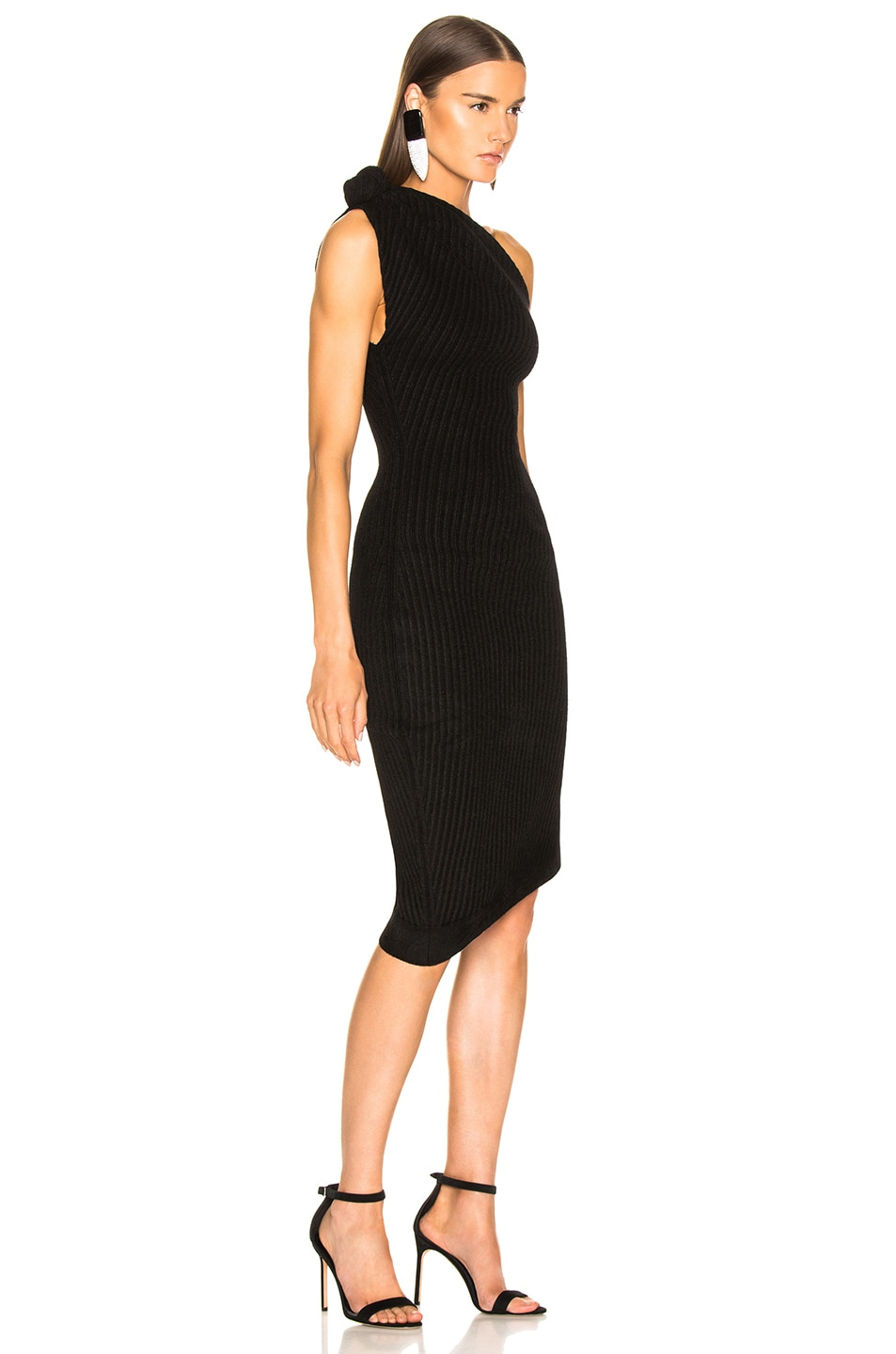 Image 2 of Brandon Maxwell Rib Knit Knot Shoulder Mini Dress in Black