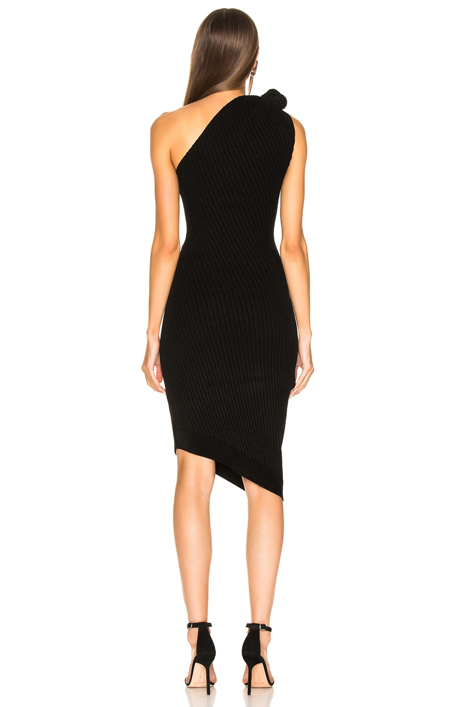 Image 3 of Brandon Maxwell Rib Knit Knot Shoulder Mini Dress in Black