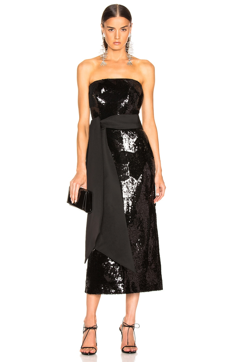 Image 1 of Brandon Maxwell Geometric Sequin Dress in Black