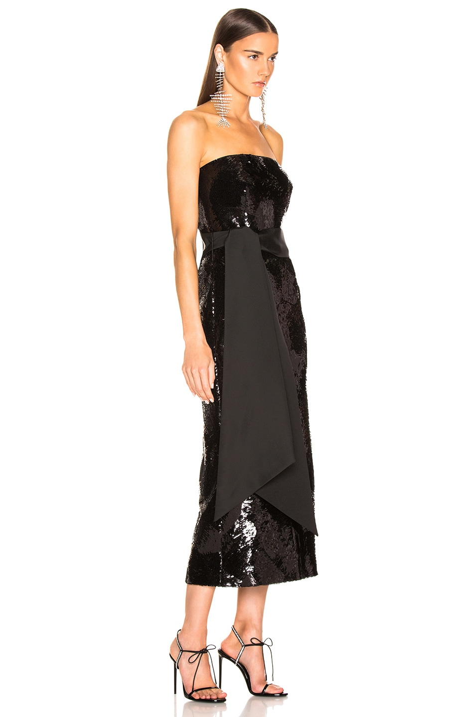 Image 2 of Brandon Maxwell Geometric Sequin Dress in Black