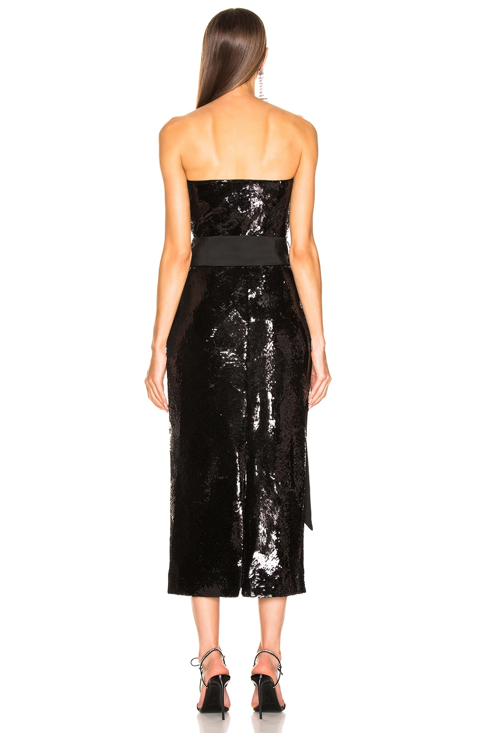 Image 3 of Brandon Maxwell Geometric Sequin Dress in Black