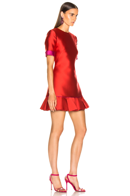 Image 2 of Brandon Maxwell Ruffle Hem Dress in Poppy