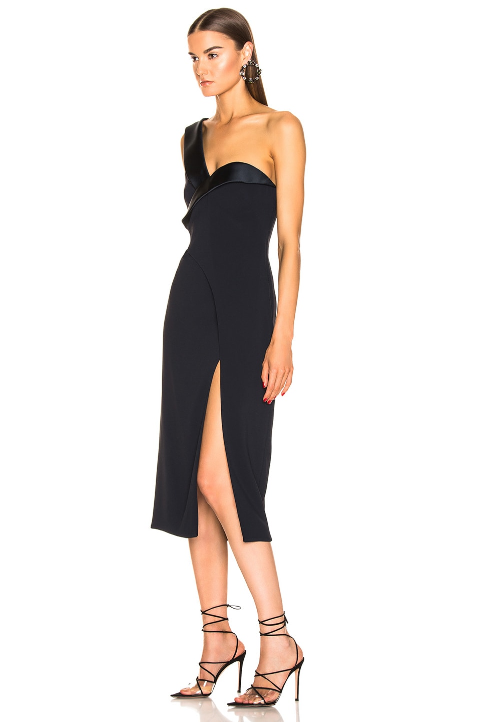Image 3 of Brandon Maxwell One Shoulder Cocktail Dress in Navy