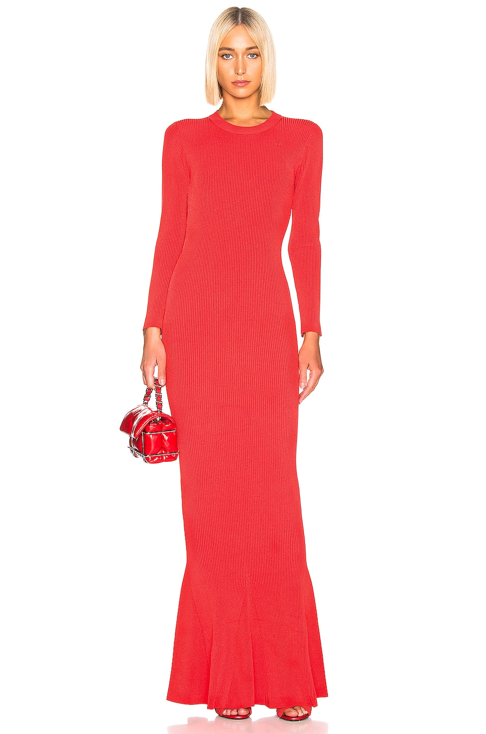 Image 1 of Brandon Maxwell Long Sleeve Knit Gown in Red