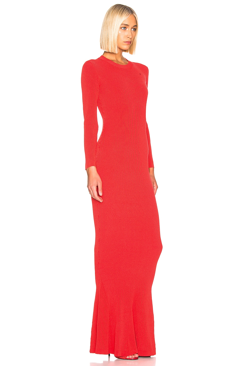 Image 2 of Brandon Maxwell Long Sleeve Knit Gown in Red