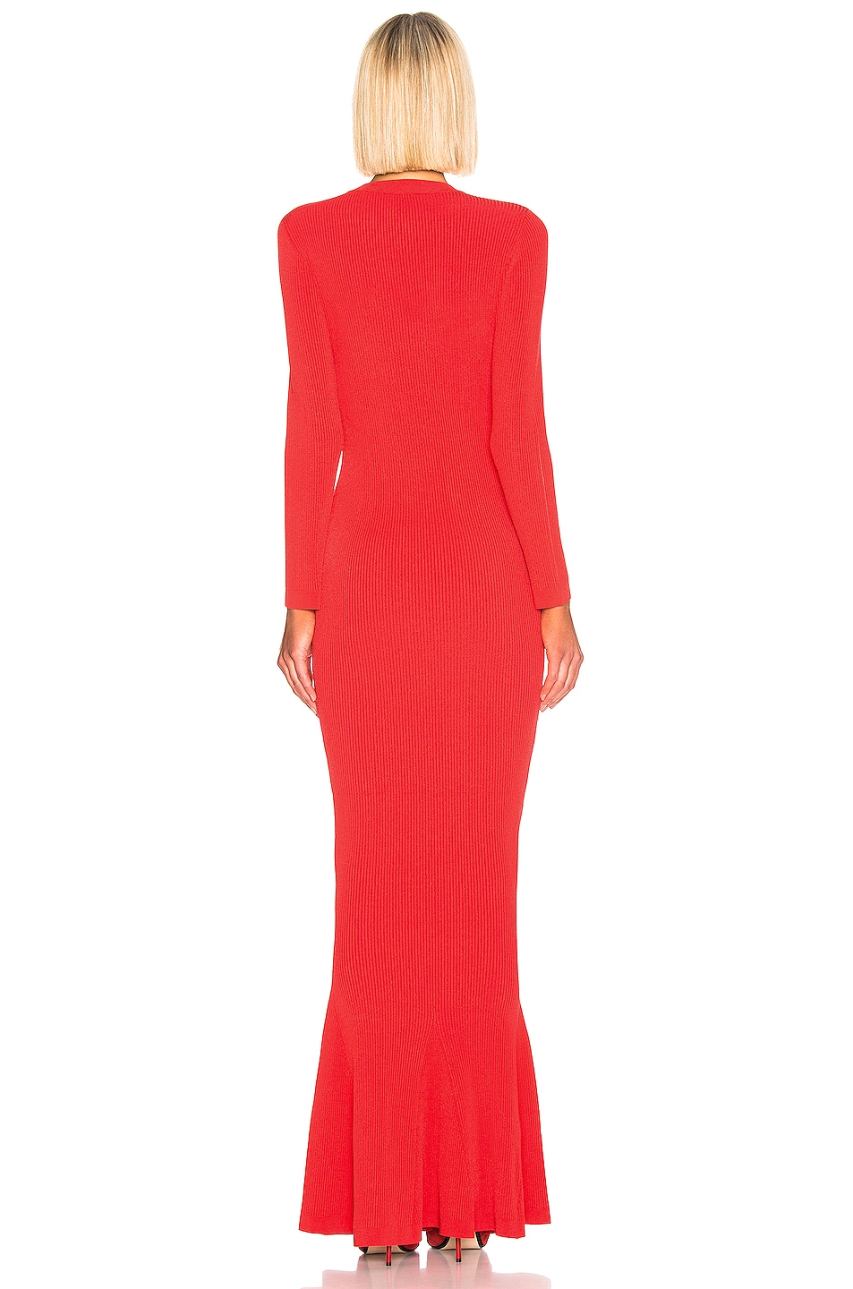 Image 3 of Brandon Maxwell Long Sleeve Knit Gown in Red