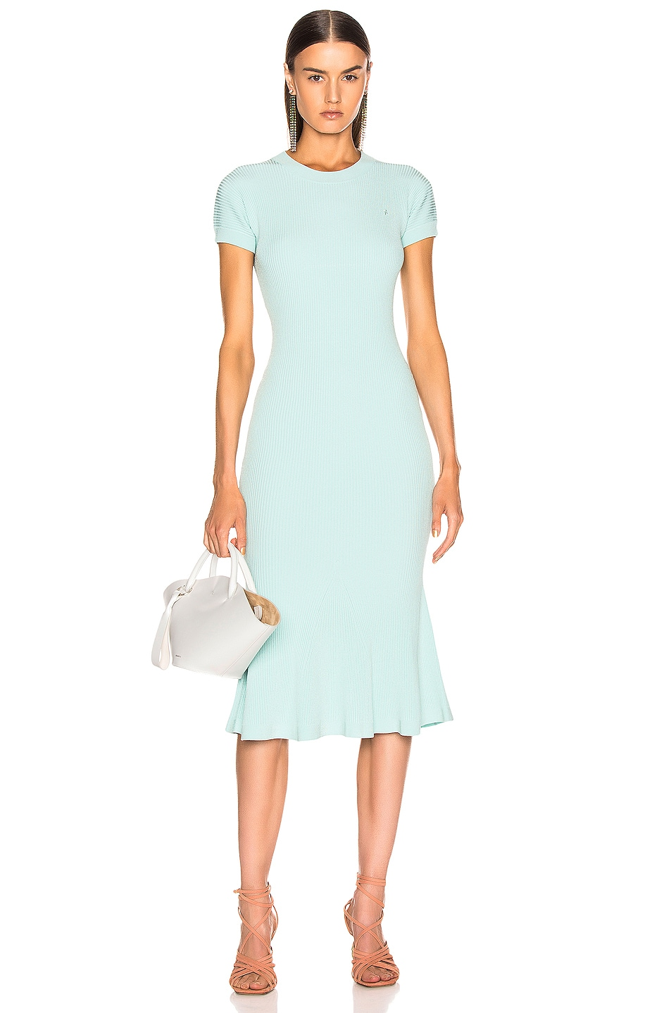 Image 1 of Brandon Maxwell Shortsleeve Knit Fit & Flare Dress in Aqua Blue
