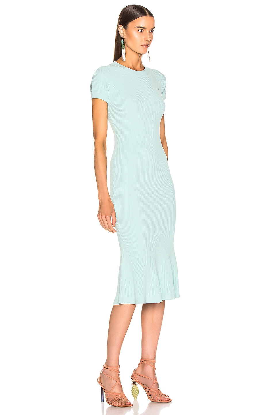 Image 2 of Brandon Maxwell Shortsleeve Knit Fit & Flare Dress in Aqua Blue