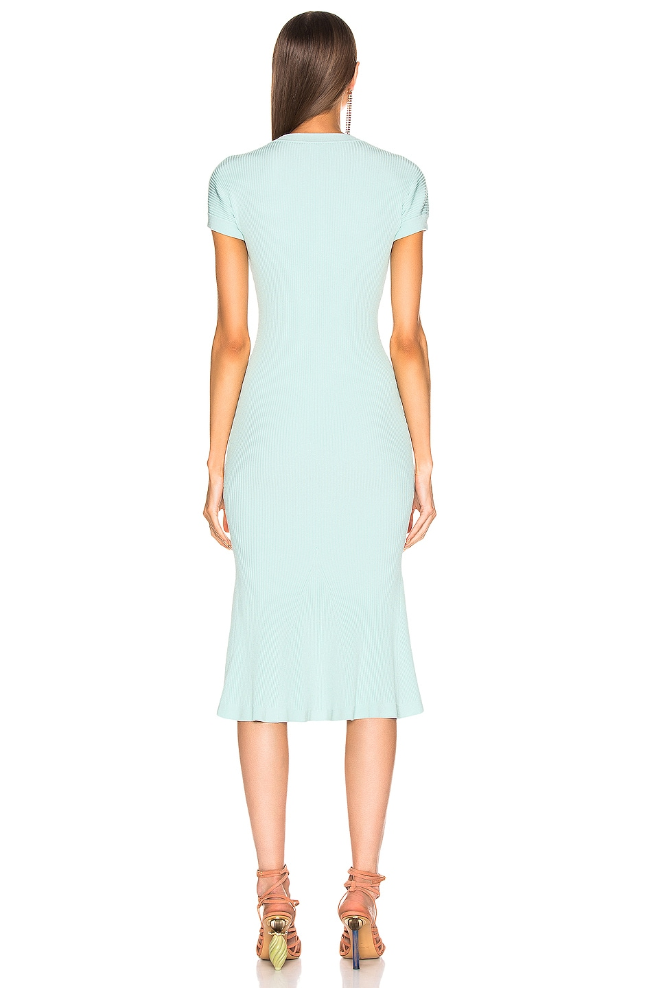 Image 3 of Brandon Maxwell Shortsleeve Knit Fit & Flare Dress in Aqua Blue