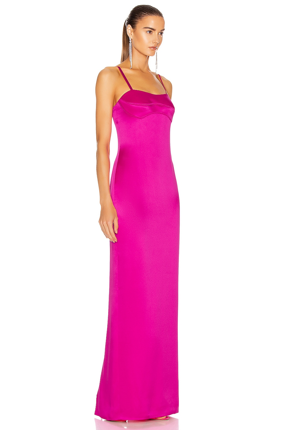 Image 2 of Brandon Maxwell Satin Bustier Column Gown in Electric Pink