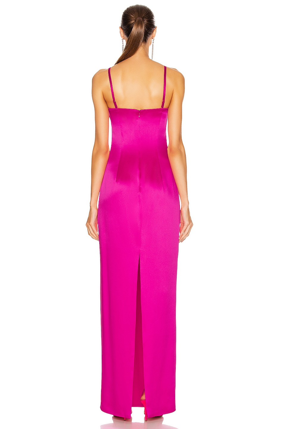 Image 3 of Brandon Maxwell Satin Bustier Column Gown in Electric Pink