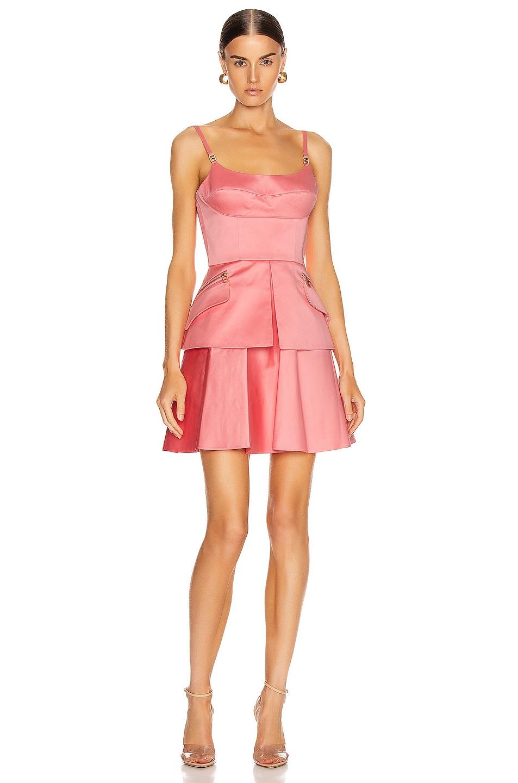 Image 1 of Brandon Maxwell Bustier Peplum Mini Dress in Flamingo