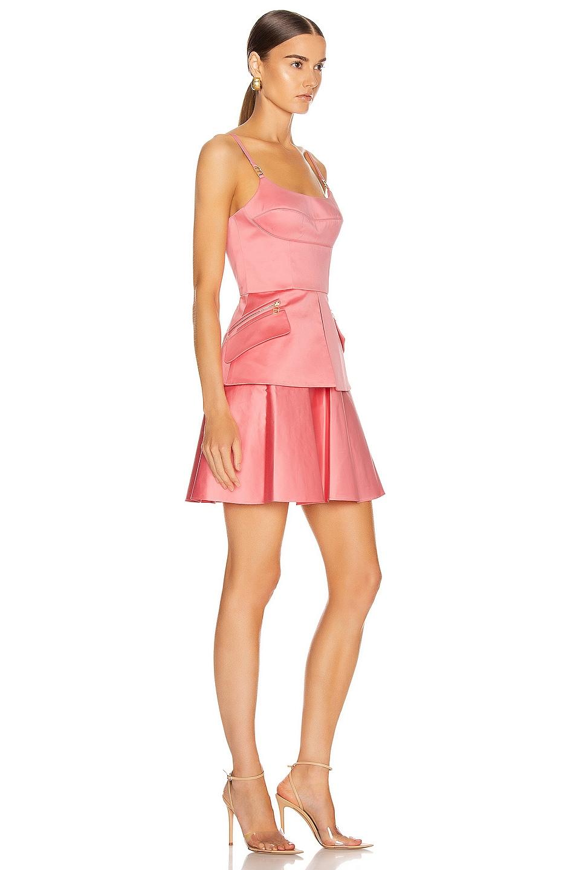 Image 2 of Brandon Maxwell Bustier Peplum Mini Dress in Flamingo