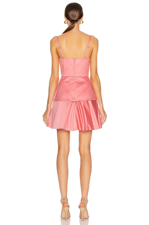 Image 3 of Brandon Maxwell Bustier Peplum Mini Dress in Flamingo
