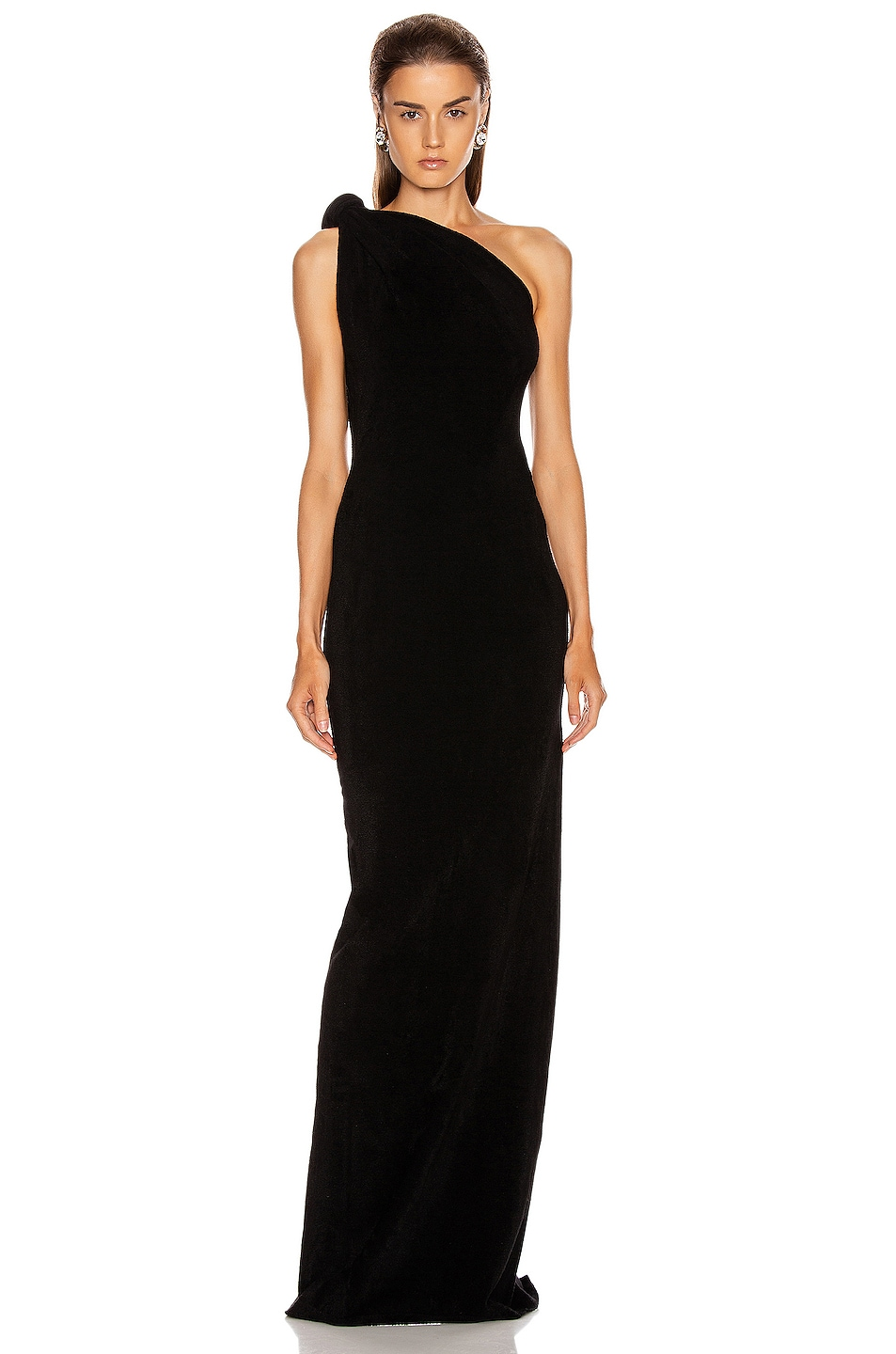 Image 1 of Brandon Maxwell Knotted Top Dress in Black