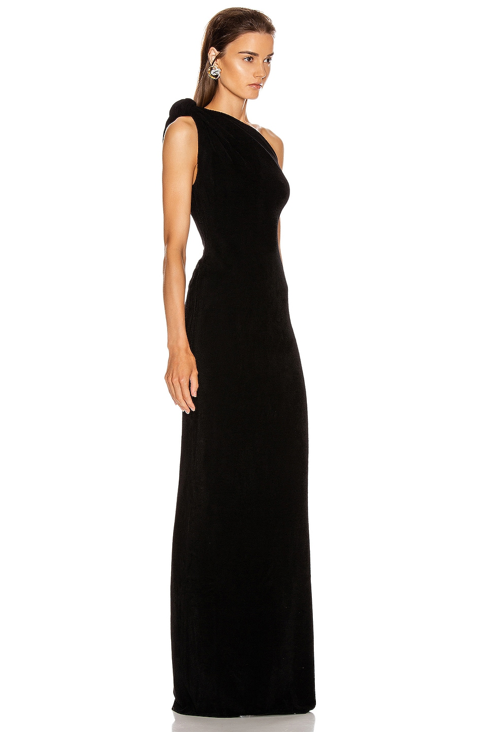 Image 2 of Brandon Maxwell Knotted Top Dress in Black