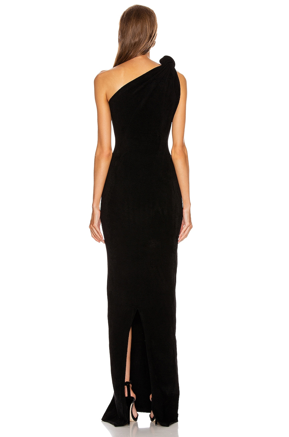 Image 4 of Brandon Maxwell Knotted Top Dress in Black