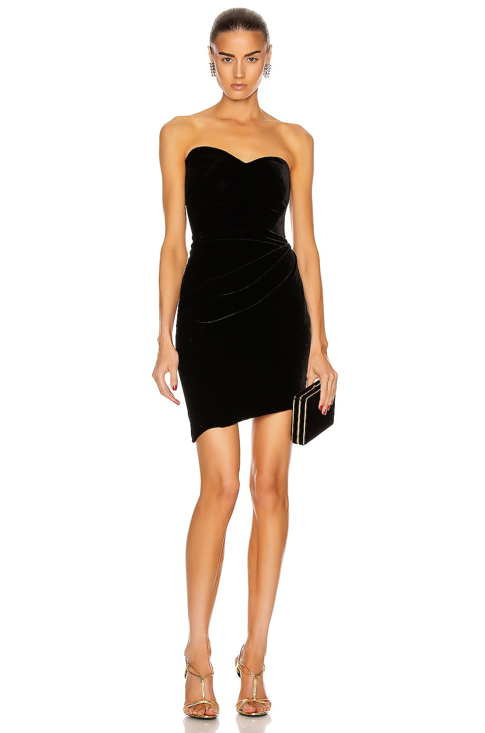Image 1 of Brandon Maxwell Bustier Strapless Mini Dress in Black