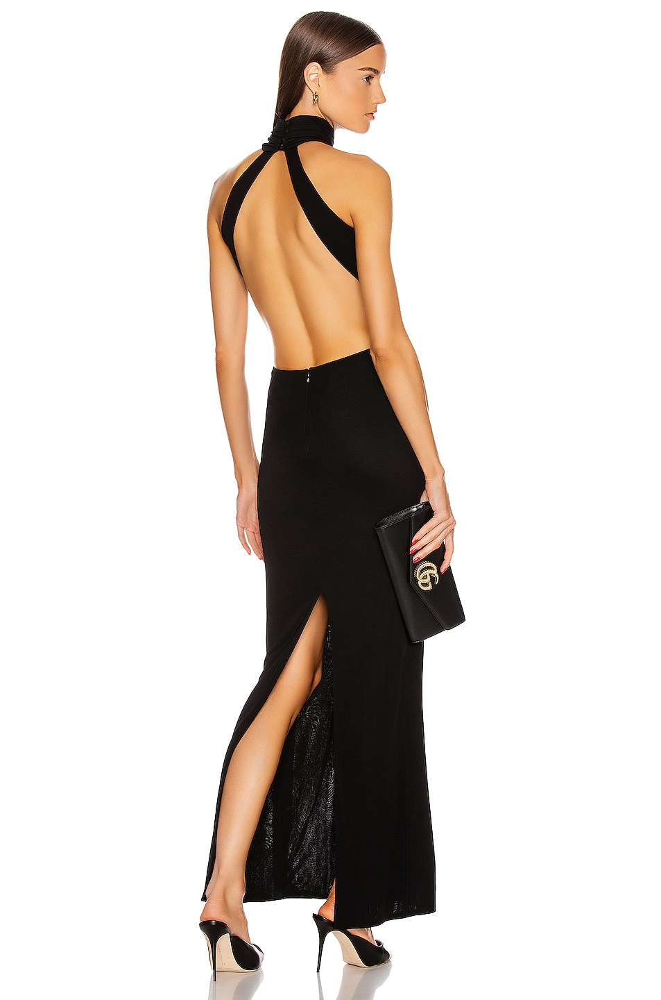Image 1 of Brandon Maxwell High Neck Backless Gown in Black