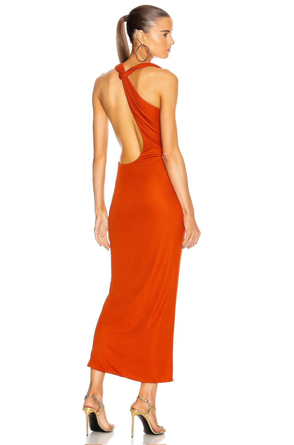 Image 1 of Brandon Maxwell One Shoulder Cocktail Dress in Rust