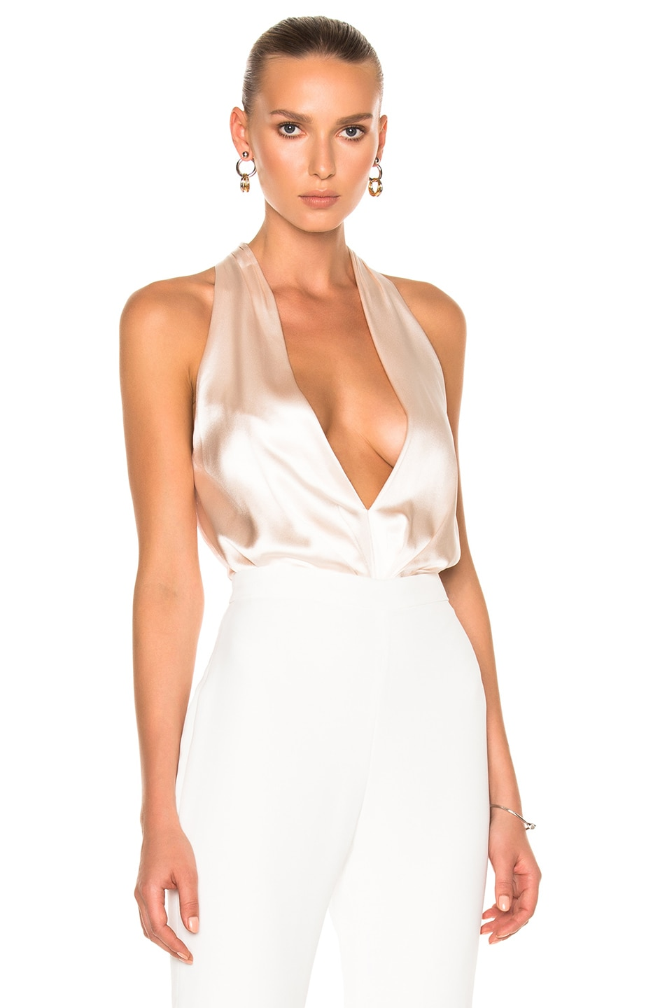 Image 1 of Brandon Maxwell Deep V Halter Bodysuit in Petal