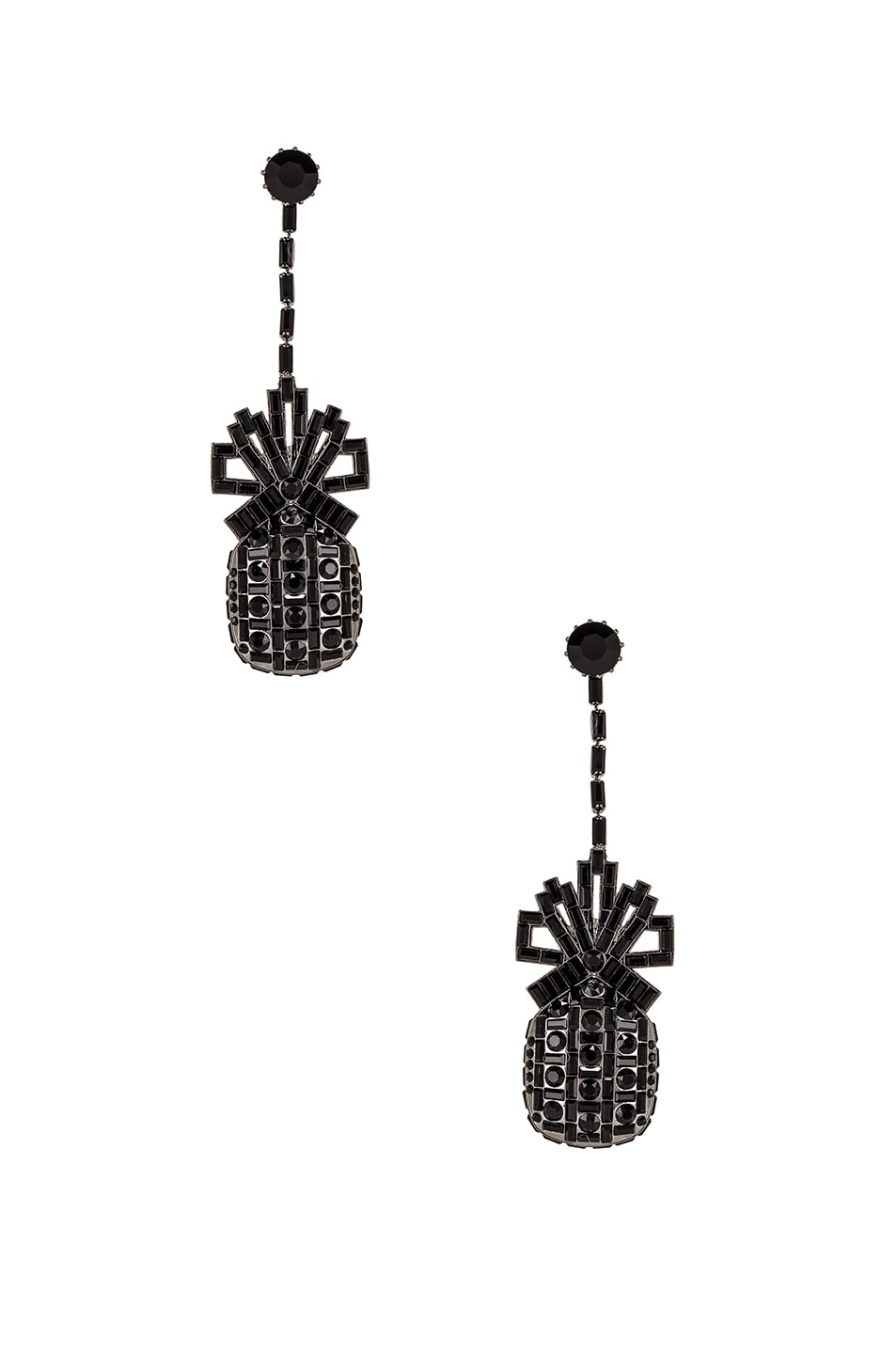 Image 1 of Brandon Maxwell Metal & Swarovski Pineapple Drop Earrings in Gunmetal & Jet