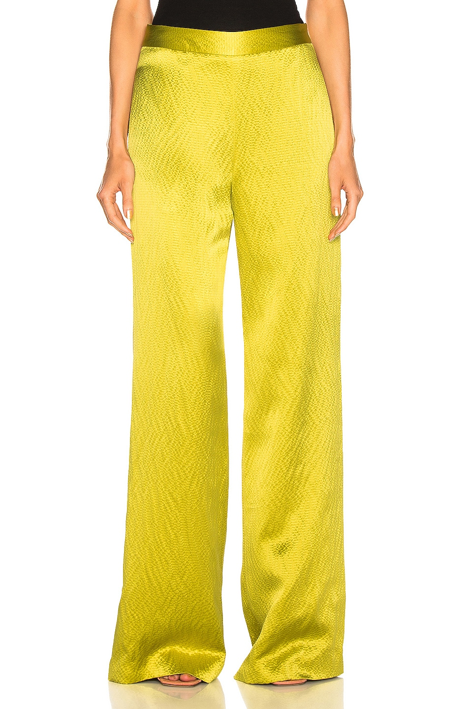Image 1 of Brandon Maxwell Wide Leg Pant in Chartreuse