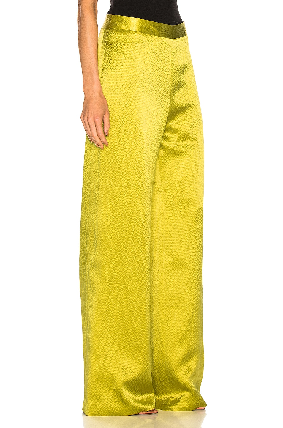 Image 2 of Brandon Maxwell Wide Leg Pant in Chartreuse