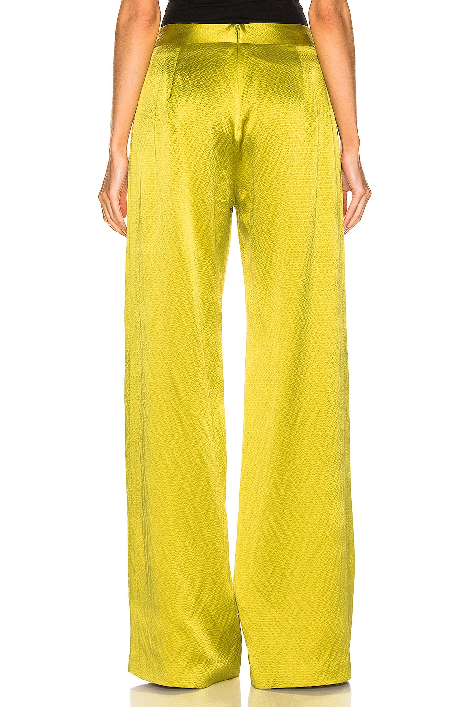 Image 3 of Brandon Maxwell Wide Leg Pant in Chartreuse
