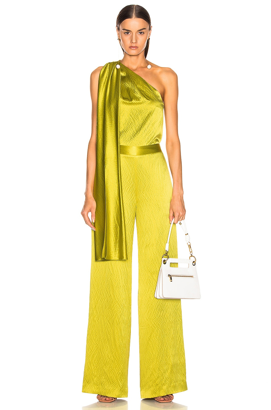 Image 4 of Brandon Maxwell Wide Leg Pant in Chartreuse