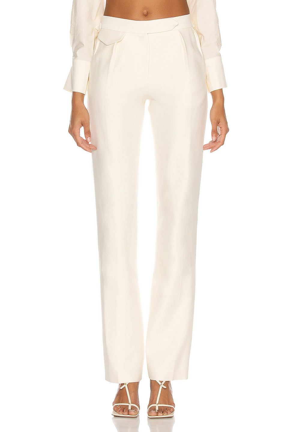 Image 1 of Brandon Maxwell Low Rise Trouser in Ivory