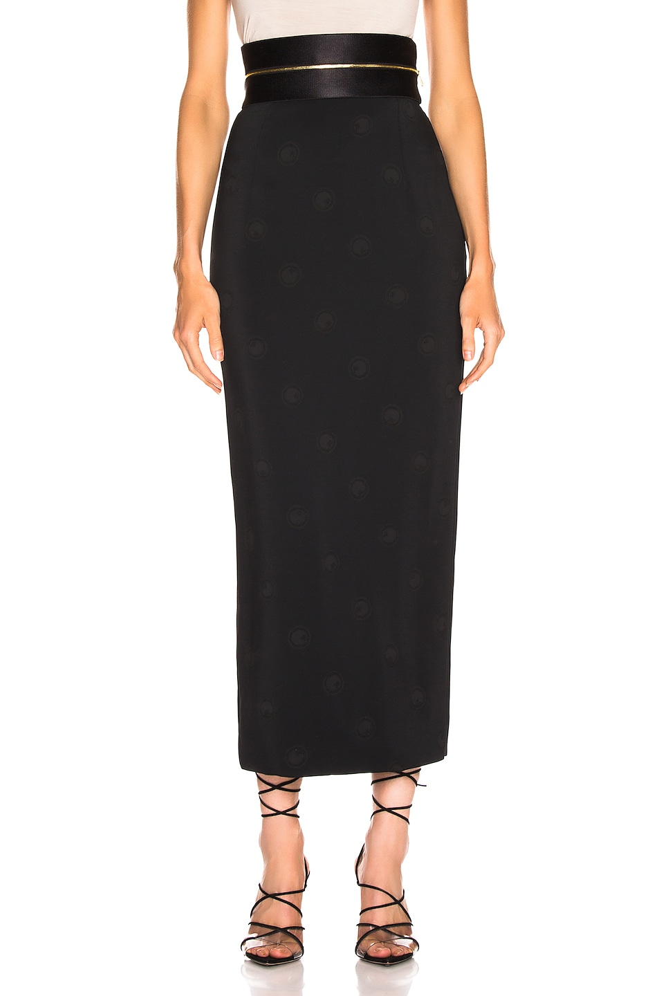 Image 1 of Brandon Maxwell Zipper Waistband Pencil Skirt in Black
