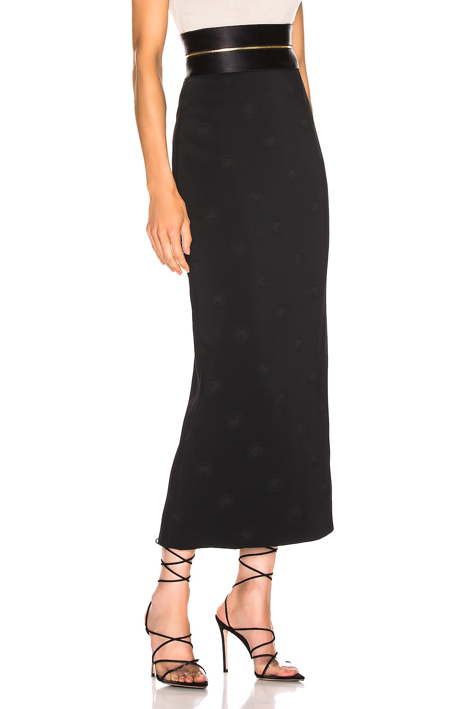 Image 2 of Brandon Maxwell Zipper Waistband Pencil Skirt in Black