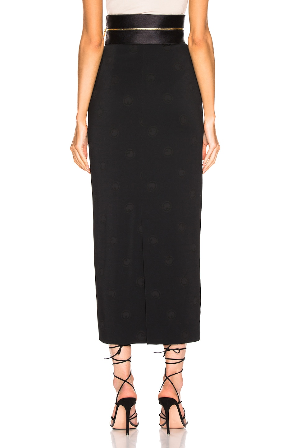 Image 3 of Brandon Maxwell Zipper Waistband Pencil Skirt in Black