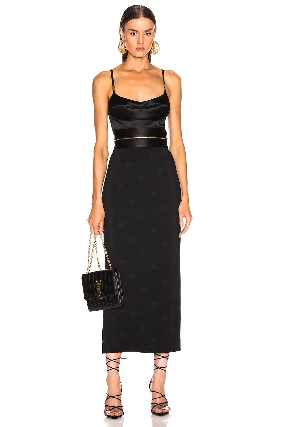 Image 4 of Brandon Maxwell Zipper Waistband Pencil Skirt in Black