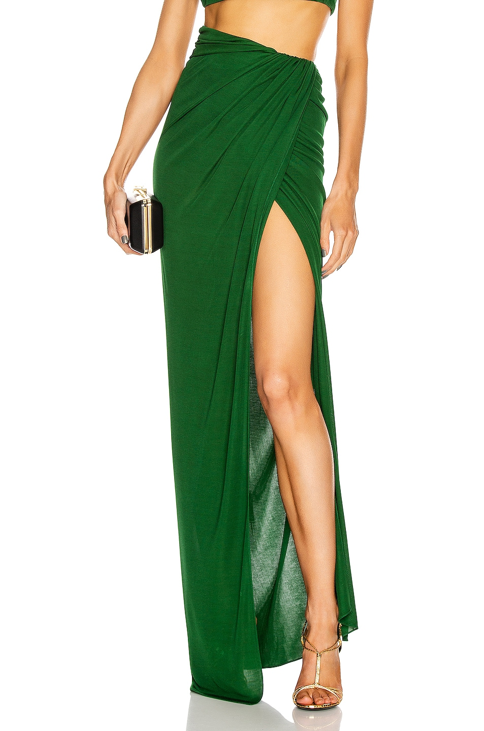 Image 1 of Brandon Maxwell Floor Length Wrap Skirt in Green