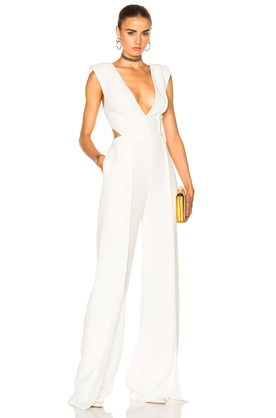 Image 1 of Brandon Maxwell V Neck Jumpsuit in White